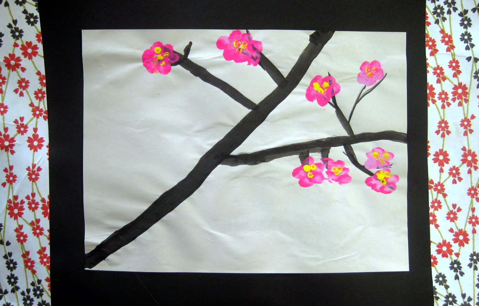 Cassie stephens in the art room cherry blossom trees by for Cherry blossom mural works