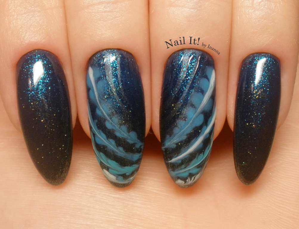 "Glitter Ombre with Sharm Effect (Indigo Nails ""Aqua Gel"", ""Markiza de Pompadour"" and ""Everyday is Christmas"""
