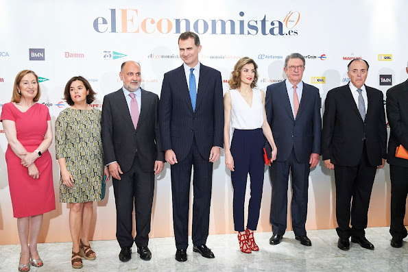 Queen Letizia at the villamagna Hotel. Queen Letizia wore Hogo Boss tops, Mango suit, Mango Desing Sandals