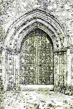 Sketch of St Mary's Church doorway - by H.M Alderman