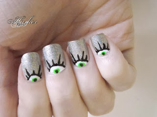 Halloween Eyes half moon manicure