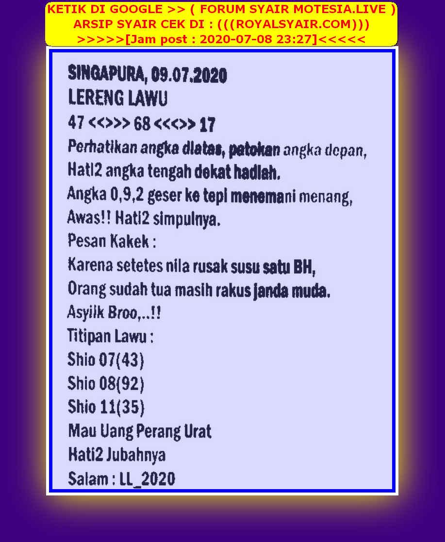 Kode syair Singapore Kamis 9 Juli 2020 53