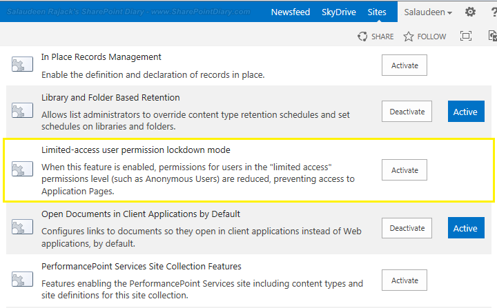 disable Limited-access user permission lockdown mode feature in sharepoint