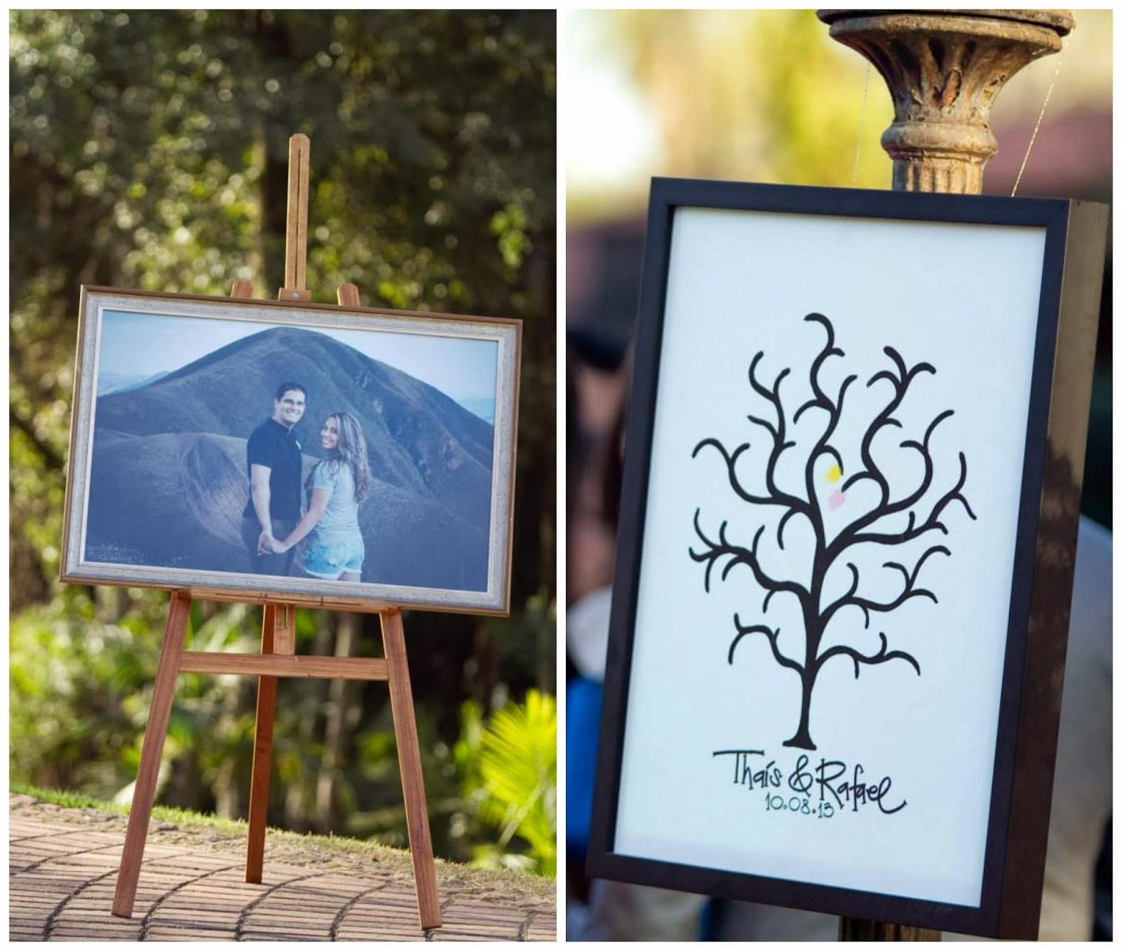 cerimônia - casamento ao ar livre - decoração - casamento de dia - banner dos noivos - árvores de digitais - recado aos noivos