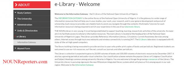 Accessing NOUN e-library Welcome message