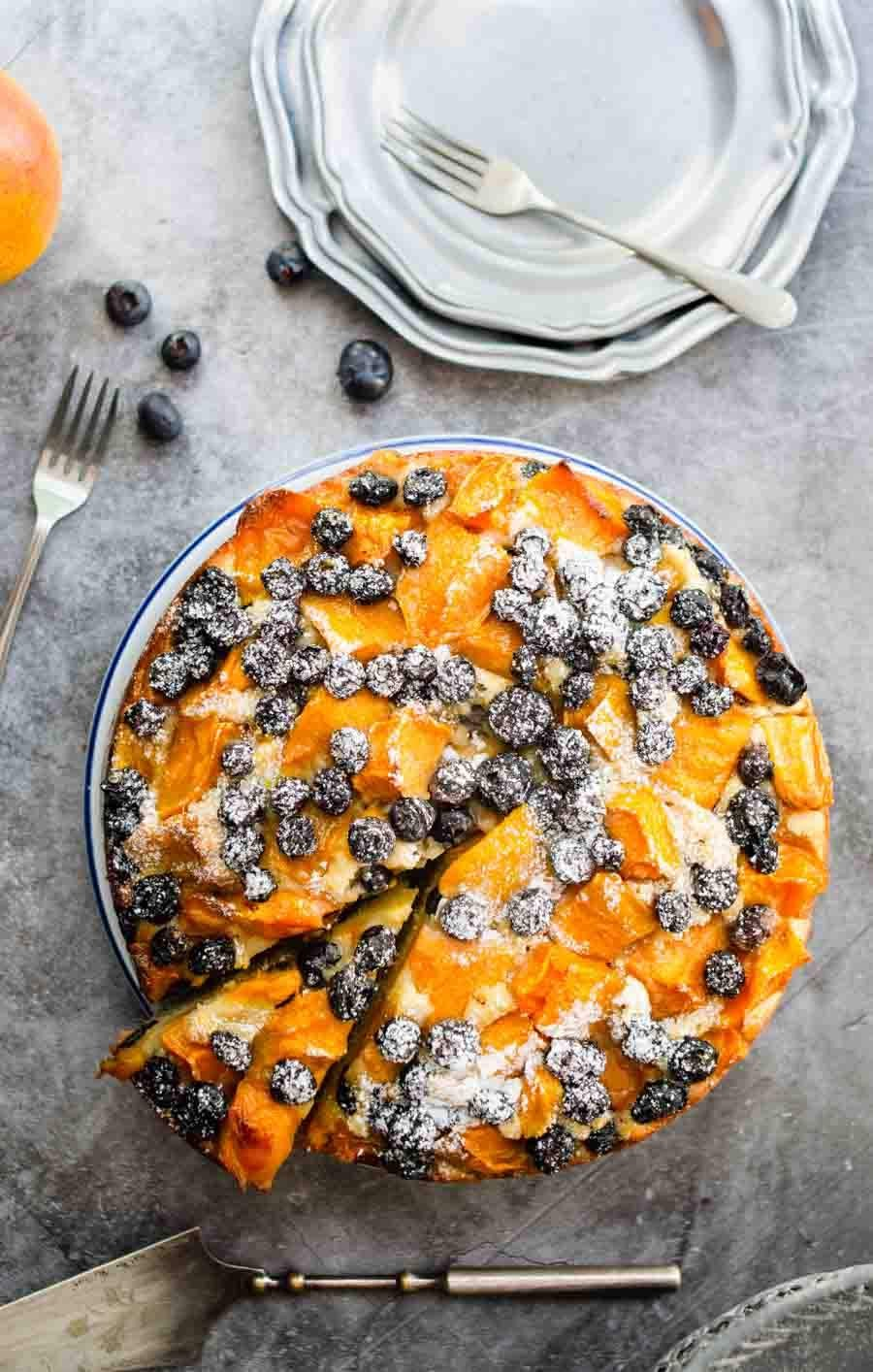 Blueberries and mango pastry cake photo