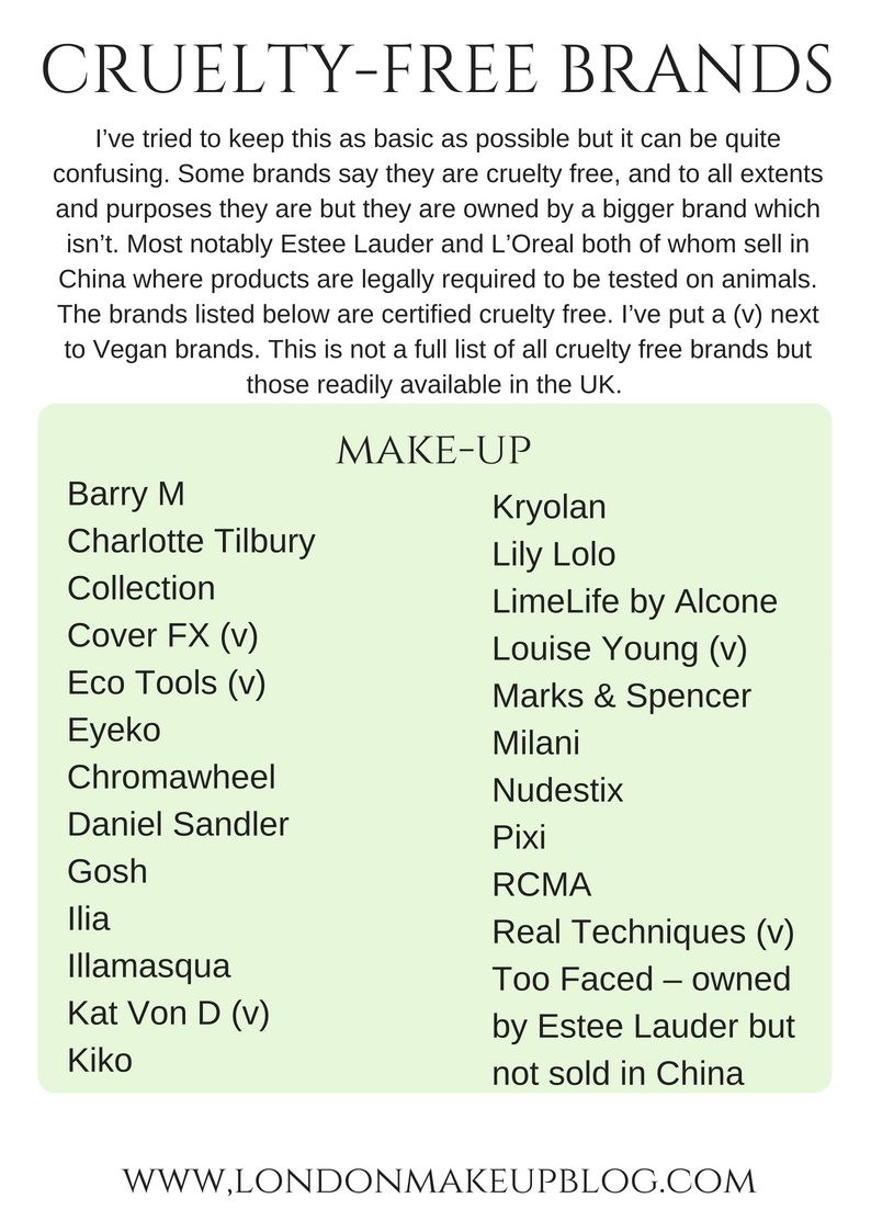 London Makeup Blog Cruelty Free List Page 1