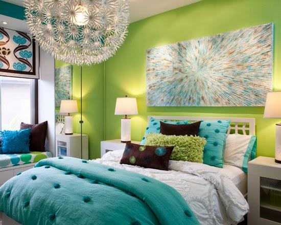 decoração de quarto em azul e verde.