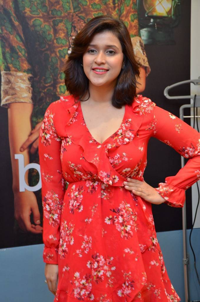 Mannara Chopra In Red Dress At Breya Retail Store Launch