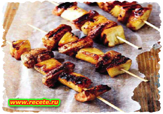 Sticky pineapple & pork sosaties