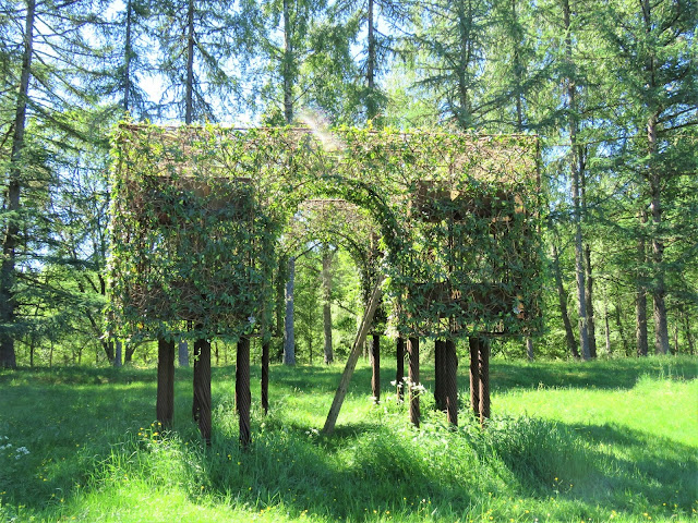 Makeløst, romantisk, poetisk på Gunillaberg - pergola iflettet pasjonsblomster. Furulunden. IMG_5182-min