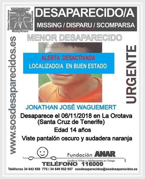 Localizado buen estado niño de 14 años, Jonathan José, en La Orotava, Tenerife