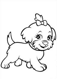 Cute Puppy Pom Dogs Coloring Sheet For Print