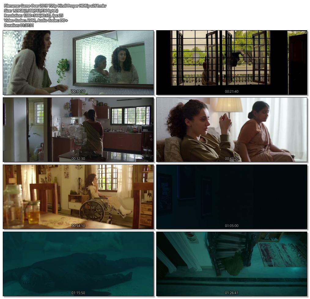 Game Over 2019 720p Hindi Proper HDRip x264   480p 300MB   100MB HEVC Screenshot
