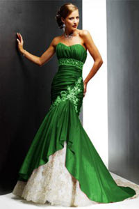 Bright Green And Dark Free Wedding Dress Designs Ideas