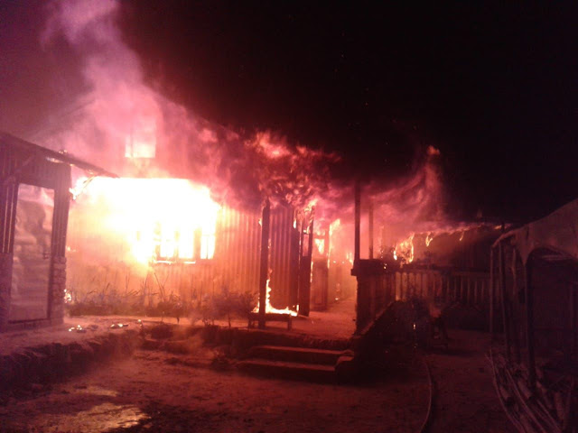 Fire burnt house in Ranju Valley