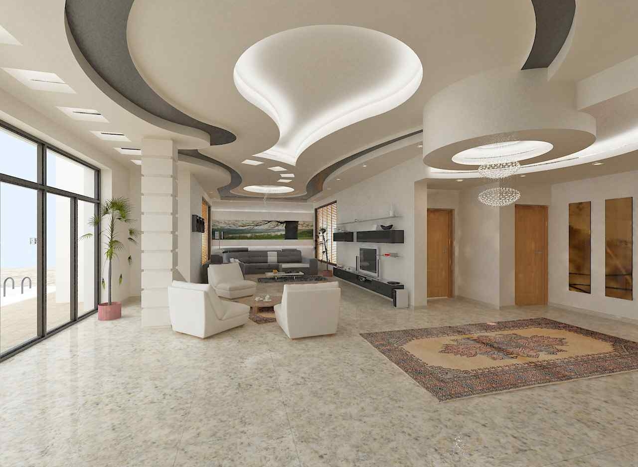 Luxury false ceiling designs in open plan apartments