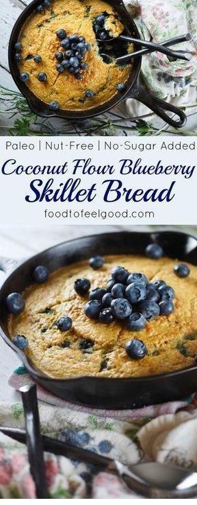 Coconut Flour Blueberry Skillet Bread
