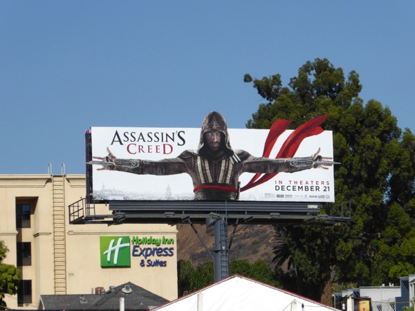 Assassins Creed movie cut-out extension billboard