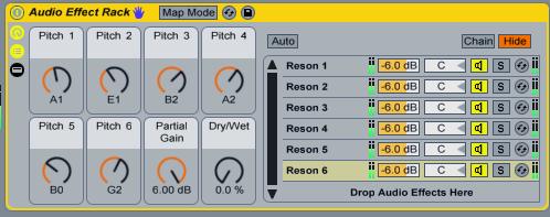 little-scale: 6x3 Resonator Matrix - Ableton Live Audio Effects Rack
