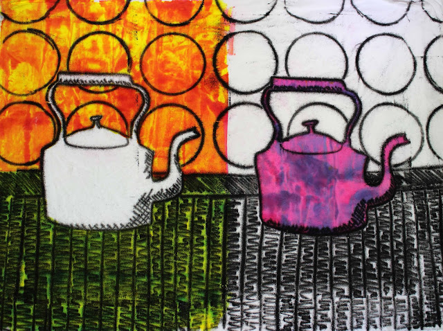 kettles or tea pot mono print on fabric with procion dye