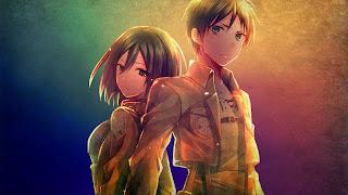 Mikasa Ackerman i Eren Yaeger wspólnie na tapecie