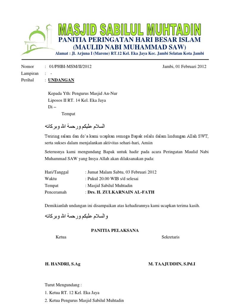 Contoh Surat Undangan Isra Miraj Nabi Muhammad Saw Blog