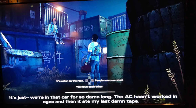 Image of two people, large subtitles and tiny dialogue text options, rendering the game inaccessible for many.