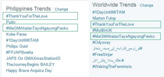 #ThankYouForTheLove vs. #MaGMAhalanTayoNgayongPasko Twitter trends