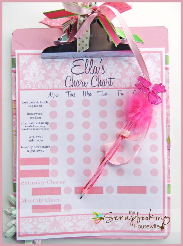 Kids Chore Chart (Pink Version) from The Scrapbooking Housewife