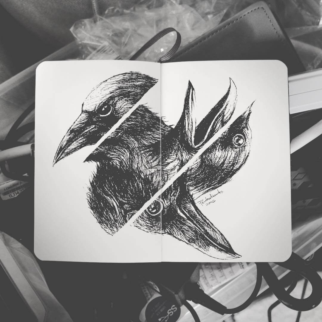 06-Change-Crow-Joseph-Catimbang-Detailed-Black-and-White-Ink-Drawings-www-designstack-co