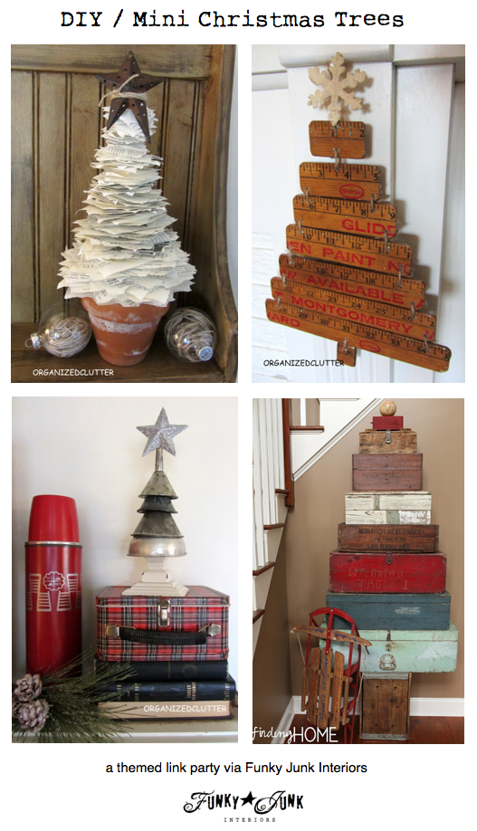 DIY / Mini Christmas Trees - a themed link party via Funky Junk Interiors
