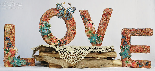 Mixed Media altered LOVE 3-D letters by Tracey Sabella