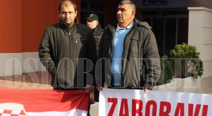 """FOTO: """"Zaboravljeni branitelji"""" Ljubuškog prosvjedovali ispred HDZ-a BiH"""