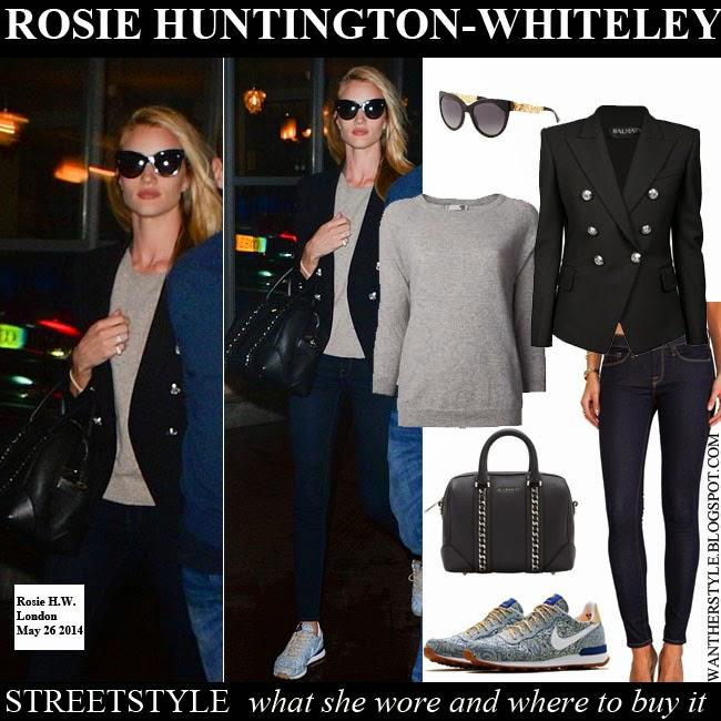 WHAT SHE WORE  Rosie Huntington-Whiteley in black blazer 9f5eef74d4bac