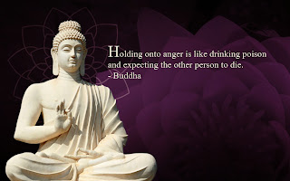 Buddha white statue with famous saying about anger
