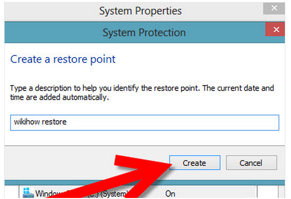 Create System Restore point in windows 8 step 4