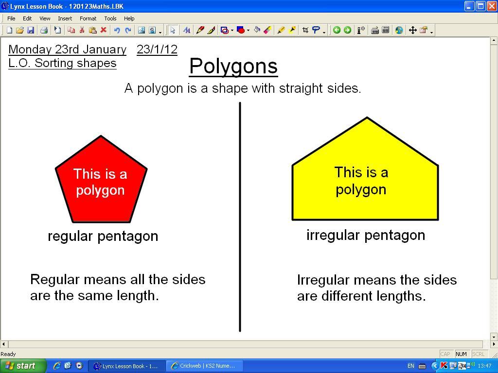 Mr Howe S Class Maths Regular And Irregular Polygons