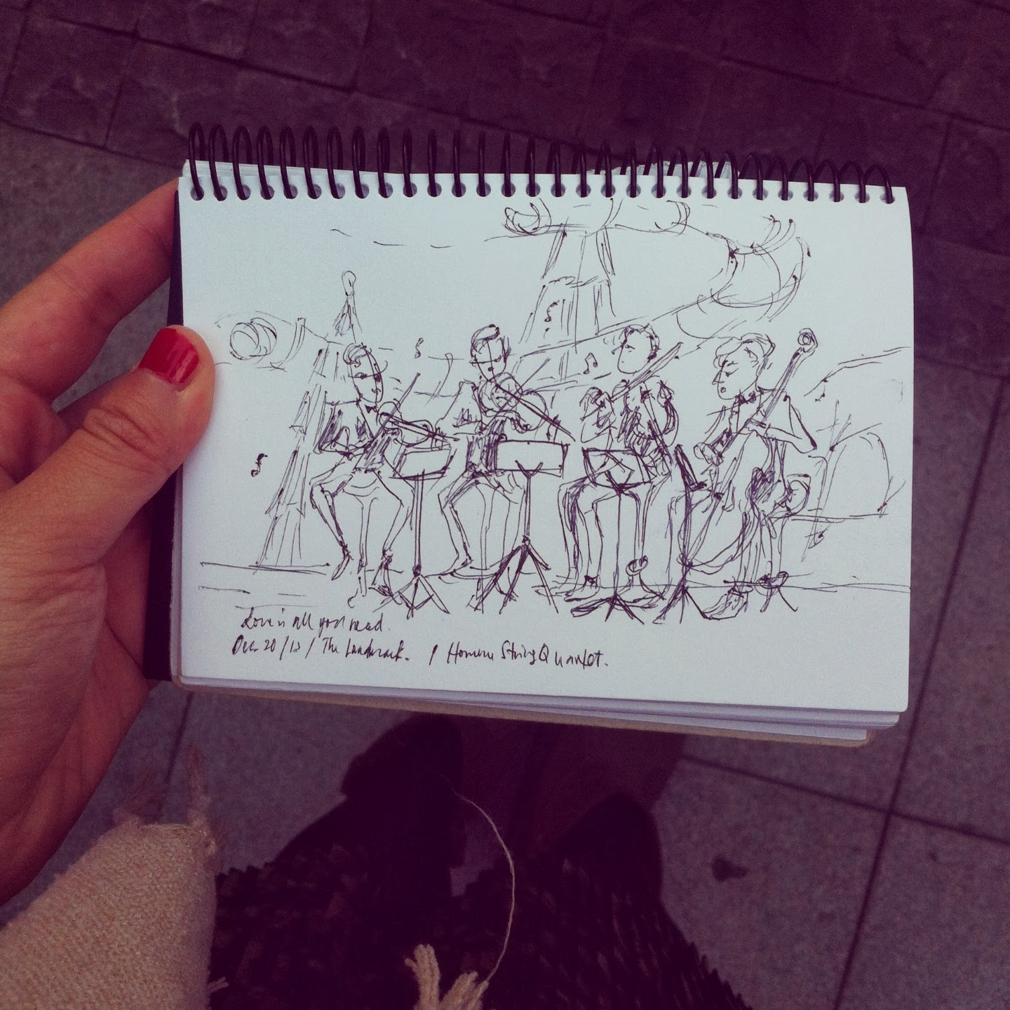 Hommes string quartet sketch at Landmark HK