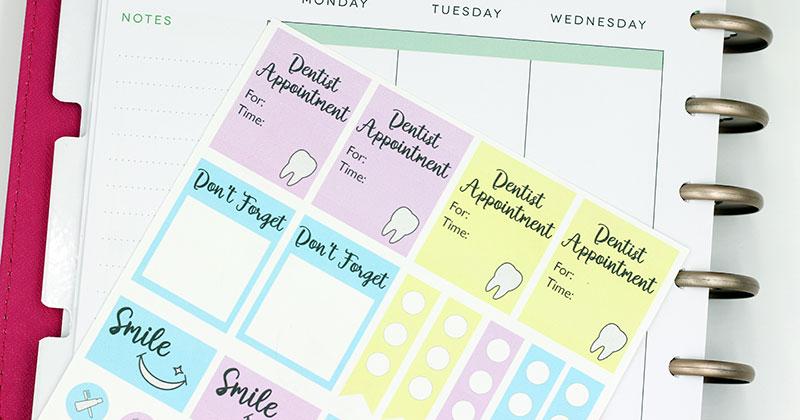 Free Printable Dental Reminder Planner Stickers