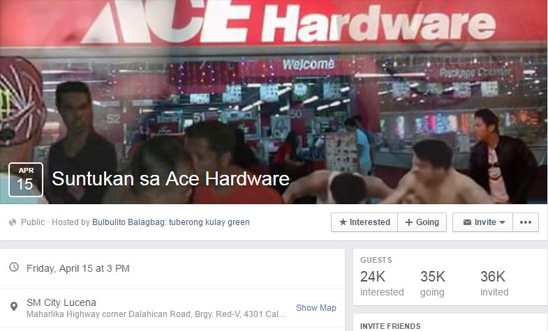 """Suntukan sa Ace Hardware"" Facebook"