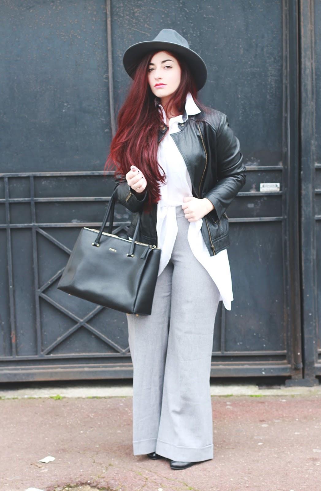 pantalon flare gris