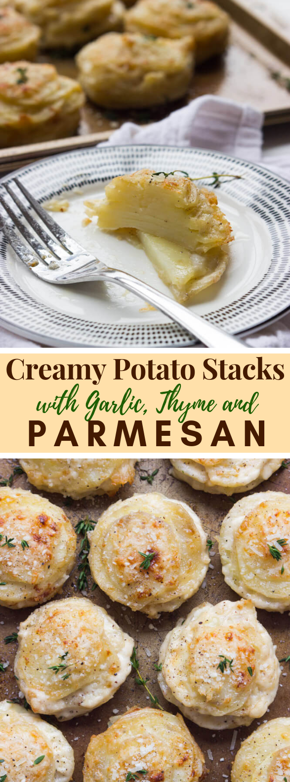 CREAMY POTATO STACKS WITH GARLIC, THYME, AND PARMESAN #dinner #partydinner