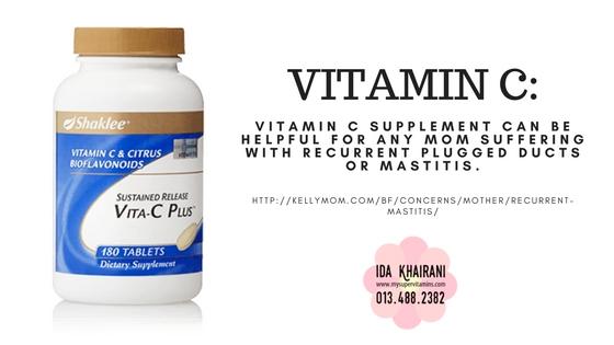 Vitamin C shaklee bantu elak masalah liang susu mudah tersumbat dan mastitis yang berulang kali