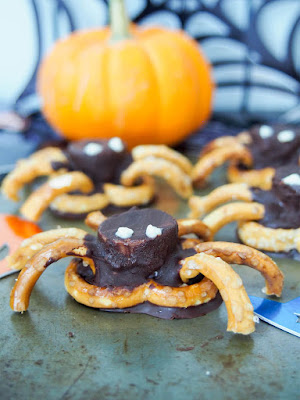 pretzels and chocolate made to look like spiders