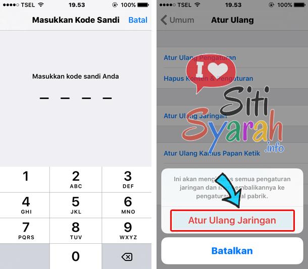 atur ulangan jaringan iPhone