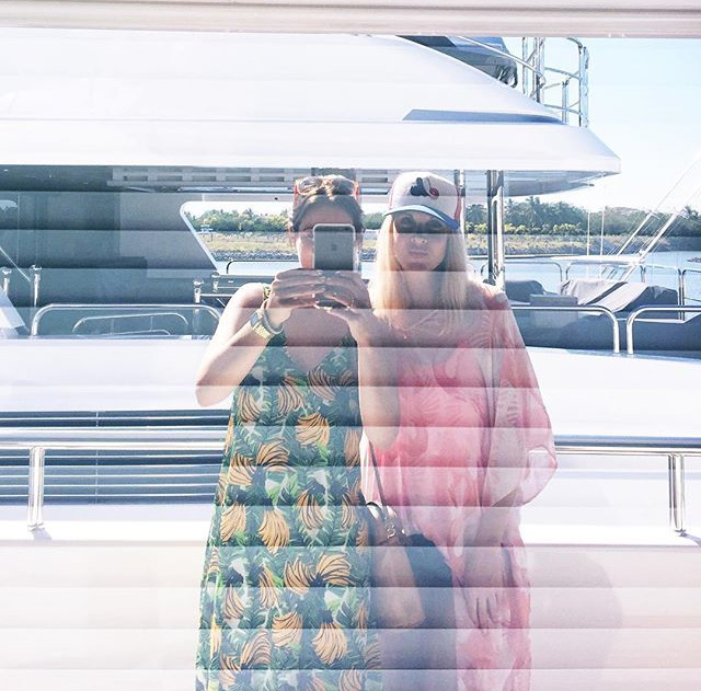 wearing Show Me Your Mumu on a yacht in Mexico