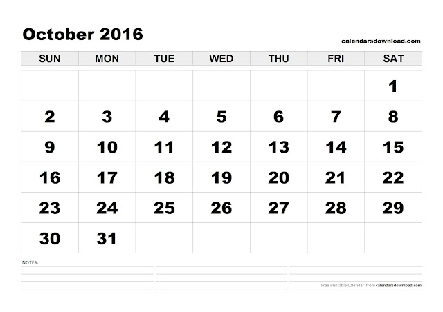 October 2016 Printable Calendar, October 2016 Calendar PDF, October 2016 Calendar Excel, October 2016 Calendar Word