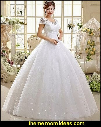 Double Shoulder Floor Length Bridal Gown Wedding Dress Custom Size