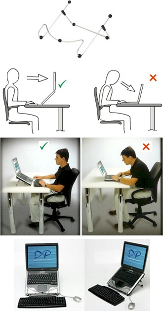 POSTURA NA FRENTE DO COMPUTADOR Ao usar o notebook: use um teclado adicional e eleve a tela para evitar a flexão do pescoço
